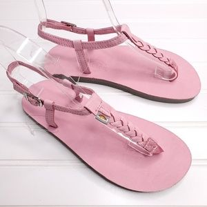 Rainbow Pink T-Strap Leather Thong Sandals 2/3